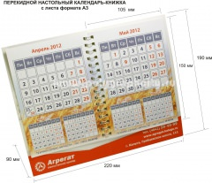 Перекидной настольный календарь - КНИЖКА с листа формата А3 компании АГРЕГАТ