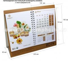 Перекидной настольный календарь - КНИЖКА c листа формата А3 компании ИТАЛ КОСМЕТИКА, 2014 г. май