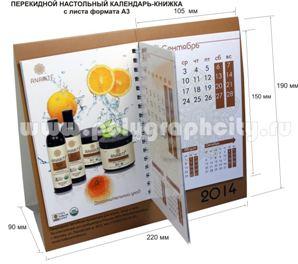 Перекидной настольный календарь - КНИЖКА c листа формата А3 компании ИТАЛ КОСМЕТИКА