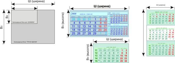Виды стандартных календарных блоков для настольных календарей