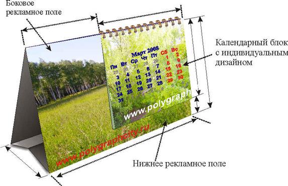 Календарь настольный перекидной с нижним и боковым рекламным полем и календарным блоком с индивидуальным дизайном
