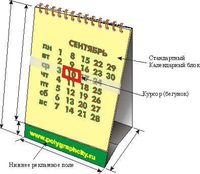 Календарь настольный перекидной только с нижним рекламным полем и стандартным календарным блоком и КУРСОРОМ