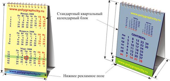Календарь настольный перекидной со стандартной квартальной календарной сеткой и нижним рекламным полем
