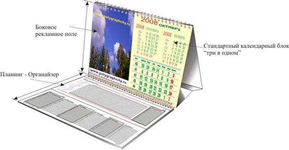 Календарь настольный двухсекционный Планинг со стандартной календарной сеткой Три в одном и боковым рекламным полем