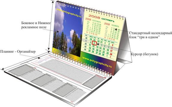 Календарь настольный двухсекционный Планинг со стандартной календарной сеткой Три в одном с боковым и нижним рекламным полем