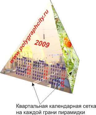 Календарь Пирамидка с квартальной сеткой на каждой грани