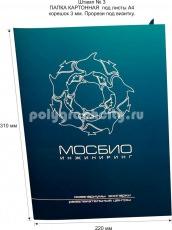 Картонная папка А4, с готового вырубного штампа № 3, компании МОСМБИО ИНЖИНИРИНГ
