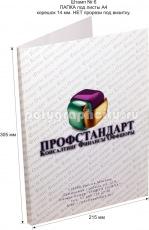 Картонная папка А4, с готового вырубного штампа № 6, компании ПРОФСТАНДАРТ (лицо)