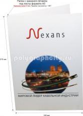 Картонная папка-конверт под А5, с Заказного вырубного штампа под листы формата А5, компании NEXANS (лицо)