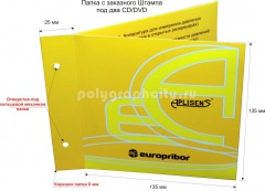 Картонная папка под два CD/DVD, с Заказного вырубного штампа компании APLISENS (лицо)
