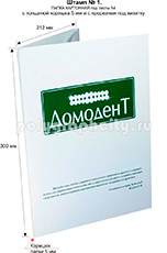 Картонная папка под листы А4 с готового вырубного штампа № 1, по заказу компании ДОМОДЕНТ (лицо)