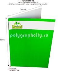 Картонная папка формата А4 с готового вырубного штампа № 12, по заказу компании «НАНОСФЕРА СТРОЙ» (лицо)
